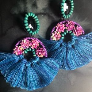 Frida Boho Chic Fringe Statement Earrings- Blue
